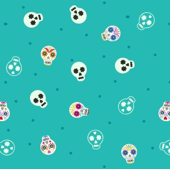 Small Things Glow Sugar Skulls on Turquoise in the Dark GID Lewis and Irene Cotton Fabric SM40.1