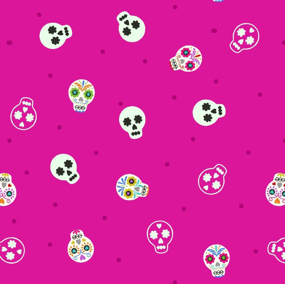 Small Things Glow Sugar Skulls on Bright Pink in the Dark GID Lewis and Ire
