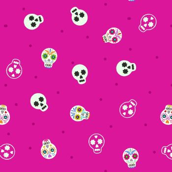 Small Things Glow Sugar Skulls on Bright Pink in the Dark GID Lewis and Irene Cotton Fabric SM40.2
