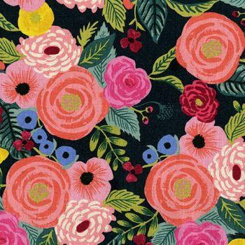 Rifle Paper Co. English Garden Juliet Rose Navy Floral Botanical Cotton Linen Canvas Fabric