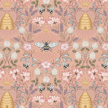 Queen Bee Bee Hive on Peach Honey Bee Bumblebee Lewis and Irene Cotton Fabric A500.2