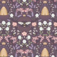 Queen Bee Bee Hive on Aubergine Honey Bee Bumblebee Lewis and Irene Cotton Fabric A500.3