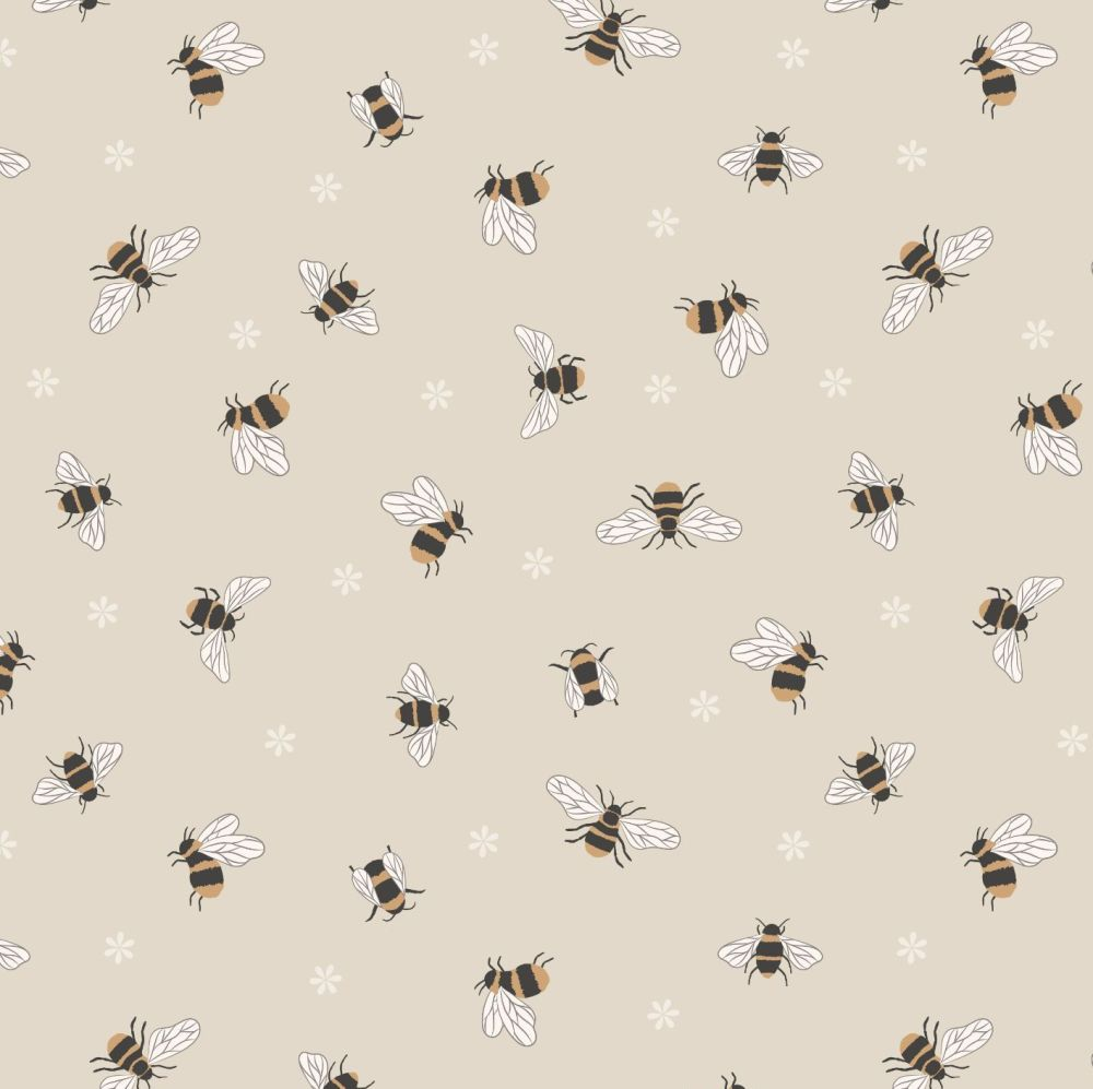 Queen Bee Bees on Dark Cream Honey Bee Bumblebee Lewis and Irene Cotton Fab
