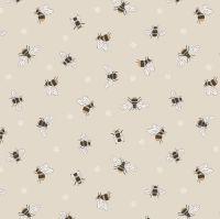 Queen Bee Bees on Dark Cream Honey Bee Bumblebee Lewis and Irene Cotton Fabric A503.1