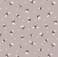 Queen Bee Bees on Warm Beige Honey Bee Bumblebee Lewis and Irene Cotton Fabric A503.2