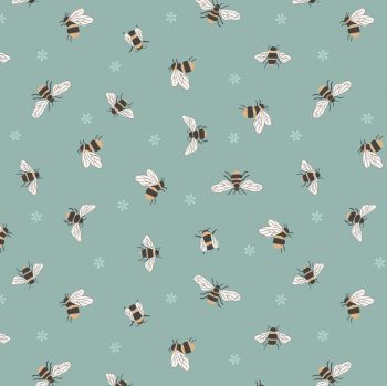 Queen Bee Bees on Duck Egg Honey Bee Bumblebee Lewis and Irene Cotton Fabric A503.3