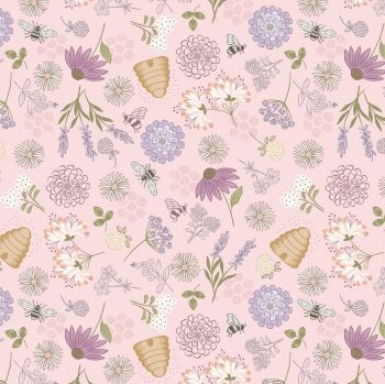 Queen Bee Bee Floral on Pink Honey Bee Beehive Bumblebee Lewis and Irene Cotton Fabric A504.1