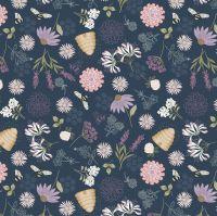 Queen Bee Bee Floral on Dark Blue Honey Bee Beehive Bumblebee Lewis and Irene Cotton Fabric A504.3