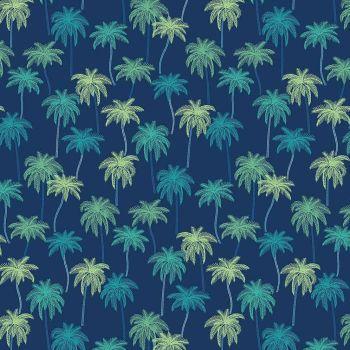 Figo Oasis Palm Tree Navy Tropical Island Cotton Fabric 90229-49