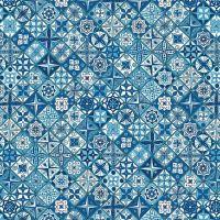 Figo Oasis Moroccan Tiles Geometric Cotton Fabric 90226-45