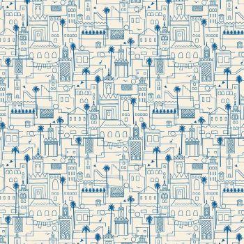 Figo Oasis Rooftops City Buildings Palm Tree Skyline Cotton Fabric 90225-11
