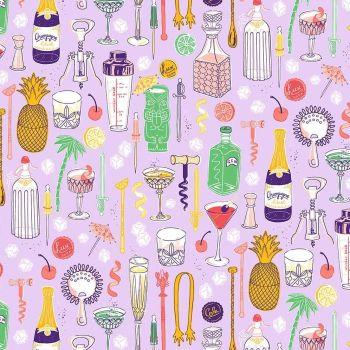 Figo Clink! Cocktails Happy Hour on Lilac Cotton Fabric 90255-80