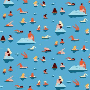 Figo Simple Pleasures Take A Dip Swim Party Cotton Fabric 90307-42