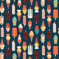 Figo Simple Pleasures Cool Off Ice Creams and Ice Lollies Popsicles Icecream Cones Cotton Fabric 90310-49