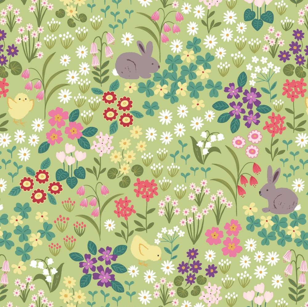 Bunny Hop Bunny & Chick Floral on Light Green Lewis and Irene Cotton Fabric