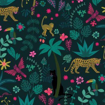 Night Jungle by Elena Essex Scenic Botanical Leopard Monkey Dashwood Cotton Fabric