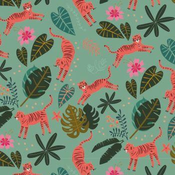 Night Jungle by Elena Essex Tigers Jungle Leaves Dashwood Cotton Fabric