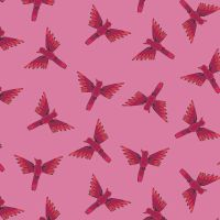 Night Jungle by Elena Essex Pink Parrots Flying Dashwood Cotton Fabric