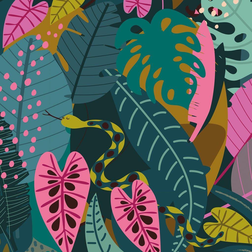Night Jungle by Elena Essex Jungle Snakes Leaves Botanical Leaf Canopy Dash