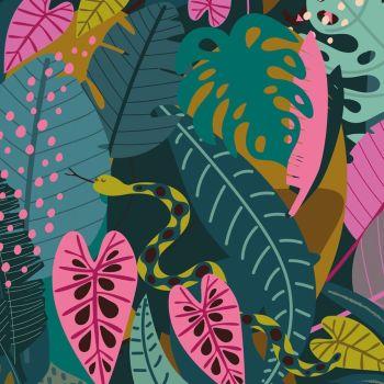 Night Jungle by Elena Essex Jungle Snakes Leaves Botanical Leaf Canopy Dashwood Cotton Fabric