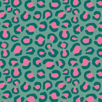 Night Jungle by Elena Essex Leopard Print Turquoise Dashwood Cotton Fabric