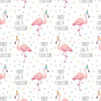 Very Punny Flockstar Flamingo Party Cotton Fabric