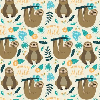 Very Punny Born To Be Mild Sloth Leaves Cotton Fabric