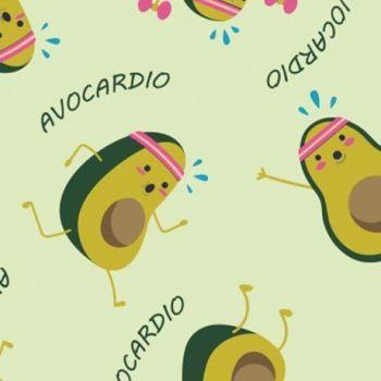 Very Punny Avocardio Avocado Gym Cardio Exercise Cotton Fabric