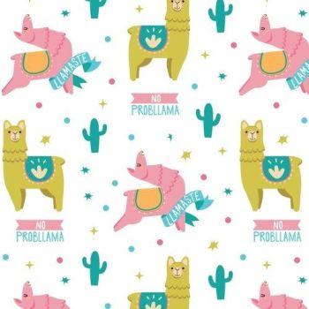 Very Punny No Probllama Llama Cactus Cotton Fabric