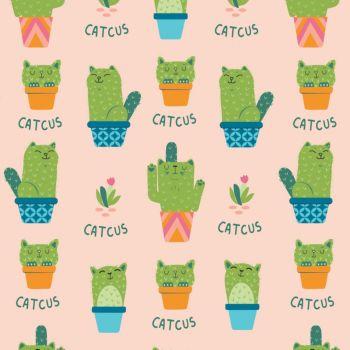 Very Punny Catcus Cactus Cats Cotton Fabric