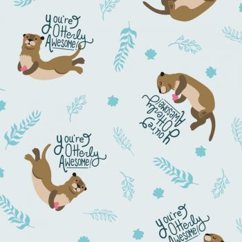 Very Punny You're Otterly Awesome Otters Love Heart Cotton Fabric