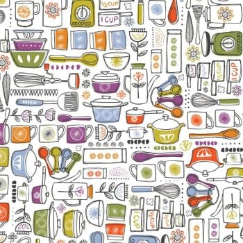 Family Recipes By Vicky Yorke Pots and Pans Baking Kitchen Utensils Cotton Fabric