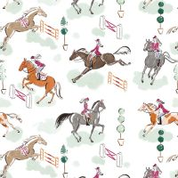 Best In Show by Sara Berrenson Best in Show White Horses Show Jumping Cotton Fabric