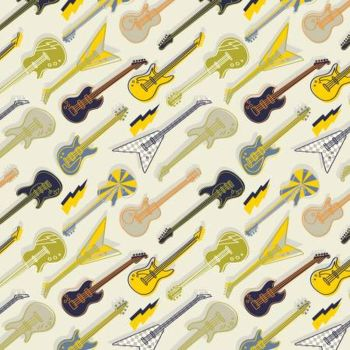 Rock On by Elizabeth Silvers Amped Up Guitars Cream Cotton Fabric