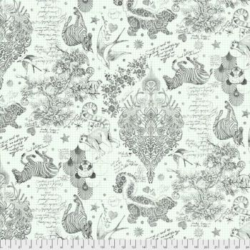 """REMNANT 2.50cm Tula Pink LINEWORK Sketchyer Paper Monochrome Quilt Backing 108"""" 2.70m Extra Wide Cotton Fabric"""