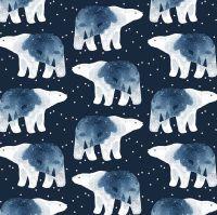 Brave Enough to Dream in Patriot Polar Bear Constellation Bears Winter Dear Stella Cotton Fabric