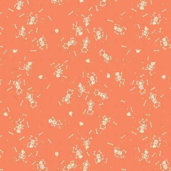 Tiny Treaters Skeletons Orange Jill Howarth Halloween Spooky Cotton Fabric