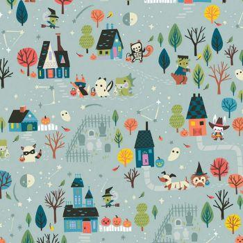 Tiny Treaters Main Gray Scenic Trick or Treat Jill Howarth Halloween Spooky Cotton Fabric