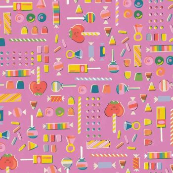 Tiny Treaters Retro Candy Pink Sweets Trick or Treat Jill Howarth Halloween Spooky Cotton Fabric