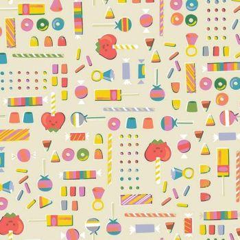 Tiny Treaters Retro Candy Cream Sweets Trick or Treat Jill Howarth Halloween Spooky Cotton Fabric