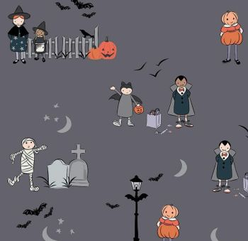 Spooky Hollow Main Charcoal Sparkle Halloween Metallic Trick or Treaters Cotton Fabric