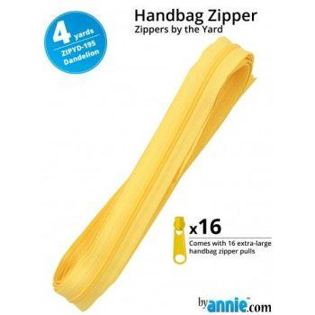 By Annie Zippers By The Yard 4 Yard Pack - Dandelion plus 16 Matching Pulls Handbag Zipper Zip