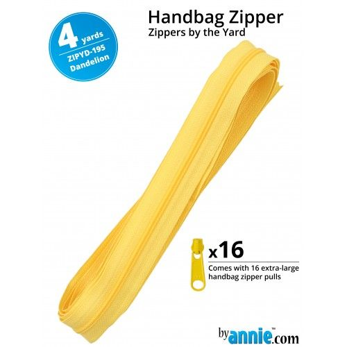 By Annie Zippers By The Yard 4 Yard Pack - Dandelion plus 16 Matching Pulls