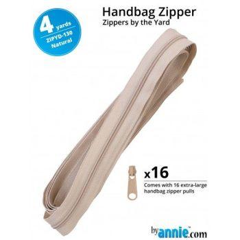 By Annie Zippers By The Yard 4 Yard Pack - Natural plus 16 Matching Pulls Handbag Zipper Zip