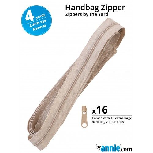 By Annie Zippers By The Yard 4 Yard Pack - Natural plus 16 Matching Pulls H