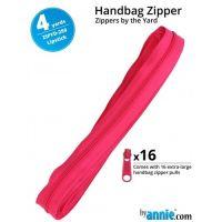 By Annie Zippers By The Yard 4 Yard Pack - Lipstick plus 16 Matching Pulls Handbag Zipper Zip