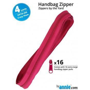 By Annie Zippers By The Yard 4 Yard Pack - Crazy Plum plus 16 Matching Pulls Handbag Zipper Zip