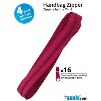 By Annie Zippers By The Yard 4 Yard Pack - Wild Plum plus 16 Matching Pulls Handbag Zipper Zip