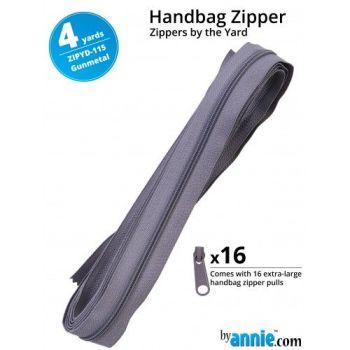 By Annie Zippers By The Yard 4 Yard Pack - Gunmetal plus 16 Matching Pulls Handbag Zipper Zip