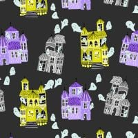 Bring Your Own Boos Ghost Hosts Spooky Black Haunted House Halloween Spooky Cotton Fabric